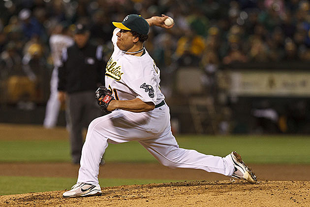 Bartolo Colon #21 of the Oakland Athletics