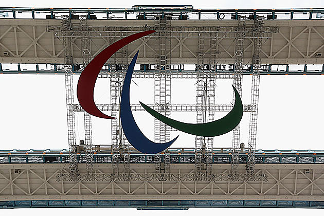 A giant emblem for the Paralympic Games