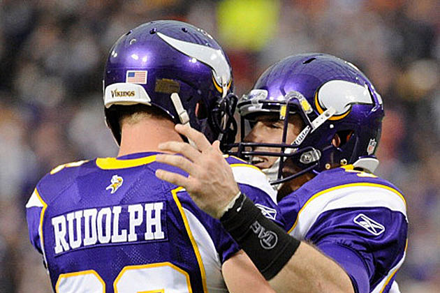 Kyle Rudolph #82 and Christian Ponder #7 of the Minnesota Vikings