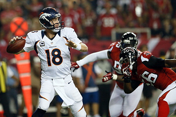 Quarterback Peyton Manning #18 of the Denver Broncos