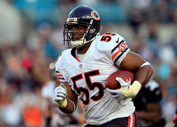 Lance Briggs #55 of the Chicago Bears