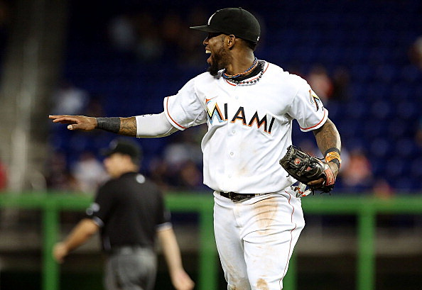Jose Reyes #7 of the Miami Marlins