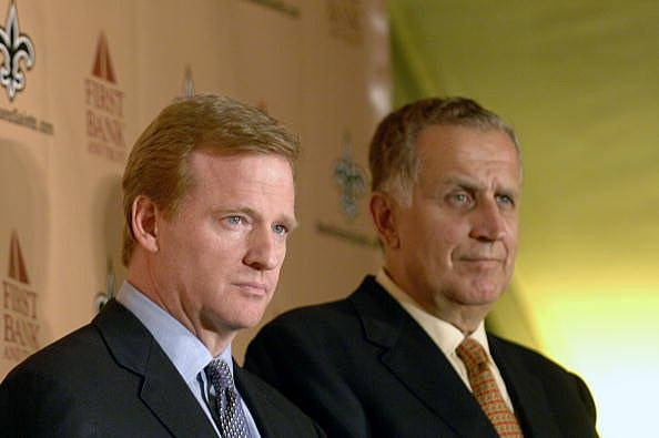 NFL commissioner Roger Goodell and retired commissioner Paul Tagliabue