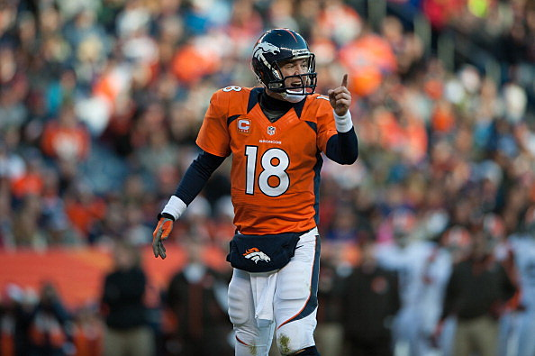 Quarterback Peyton Manning #18 of the Denver Broncos