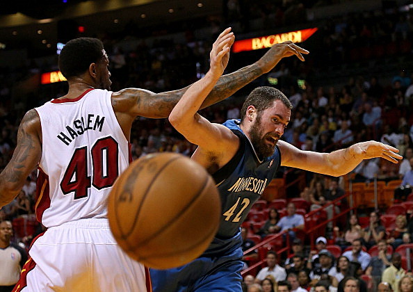 Udonis Haslem, Miami Heat and Kevin Love, Minnesota Timberwolves