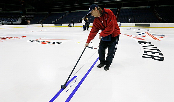 Washington Capitals Install Logo And Lines In Verizon Center Ice