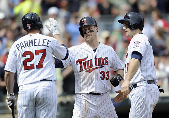 Chris Parmelee, Justin Morneau and Josh Willingham, Minnesota Twins vs Texas Rangers 04-28-2013