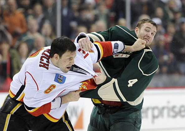 Cory Sarich, Calgary Flames and Clayton Stoner, Minnesota Wild 04-21-2013