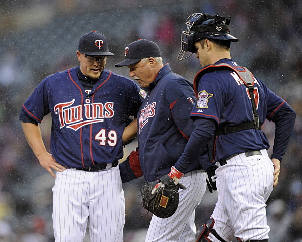 Vance Worley, Rick Anderson and Joe Mauer, Minnesota Twins vs New York Mets 04-12-2013