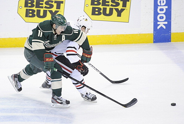 Zach Parise, Minnesota Wild vs Chicago Blackhawks 04-09-2013