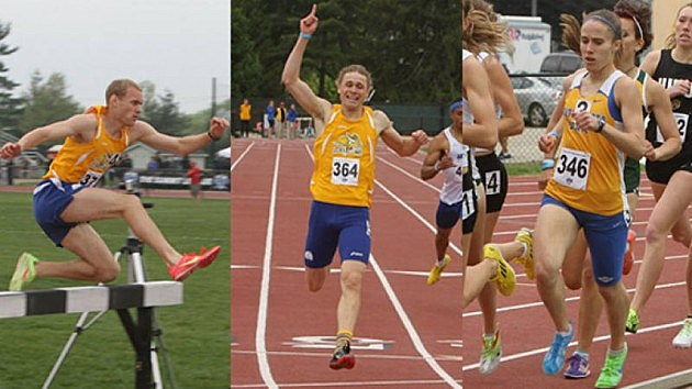 Andrew Thies, Luke Leischner and Tera Potts, South Dakota State Jackrabbits, 2013 Aummit Academic All-League