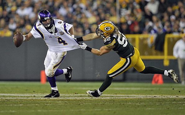 Brett Favre, Minnesota Vikings and Clay Matthews, Green Bay Packers 10-24-2010