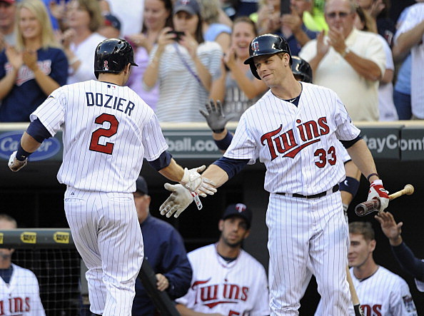 Brian Dozier and Justin Morneau, Minnesota Twins vs Cleveland Indians 08-12-2013