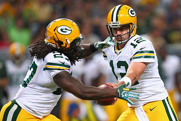 Eddie Lacy and Aaron Rodgers, Green Bay Packers va St. Louis Rams, 08-17-2013