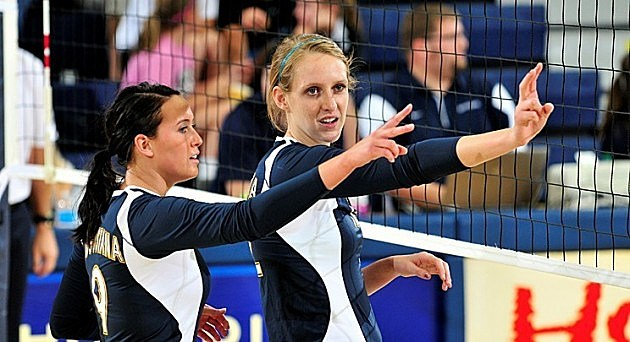 Courtney Ysker and Holly Hafemeyer, Augustana Vikings volleyball