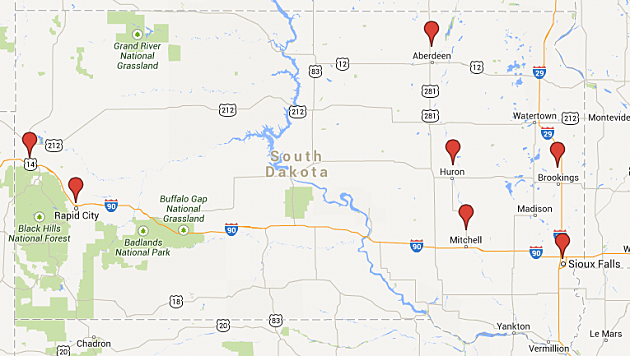 South Dakota Events Map