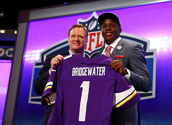 Roger Goodell, NFL Commissioner and Teddy Bridgewater, Minnesota Vikings, 2014 NFL Draft