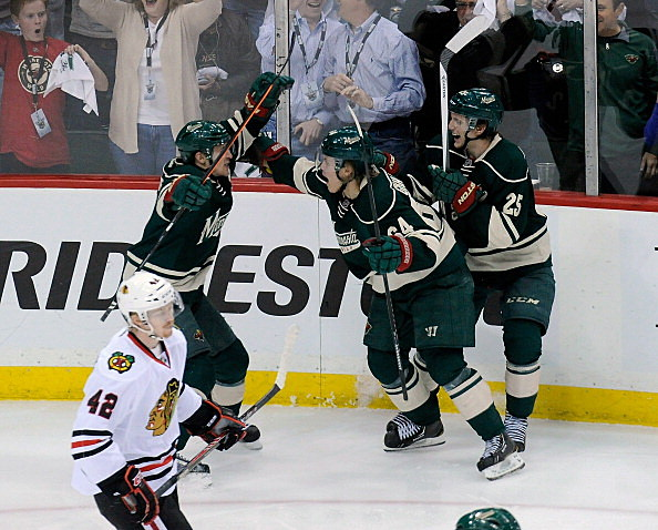Zach Parise, Mikael Granlund and Jonas Brodin, Minnesota Wild vs Chicago Blackhawks, Game 3, 2014 Western Conference Semifinals