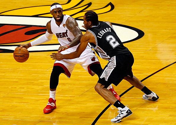 LeBron James, Miami Heat and Kawhi Leonard, San Antonio Spurs, 2014 NBA Finals, Game 4