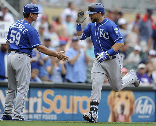 Mike Jirschele and Alex Gordon, Kansas City Royals vs Minnesota Twins