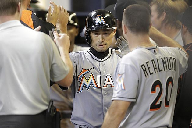 Ichiro Suzuki #51 of the Miami Marlins