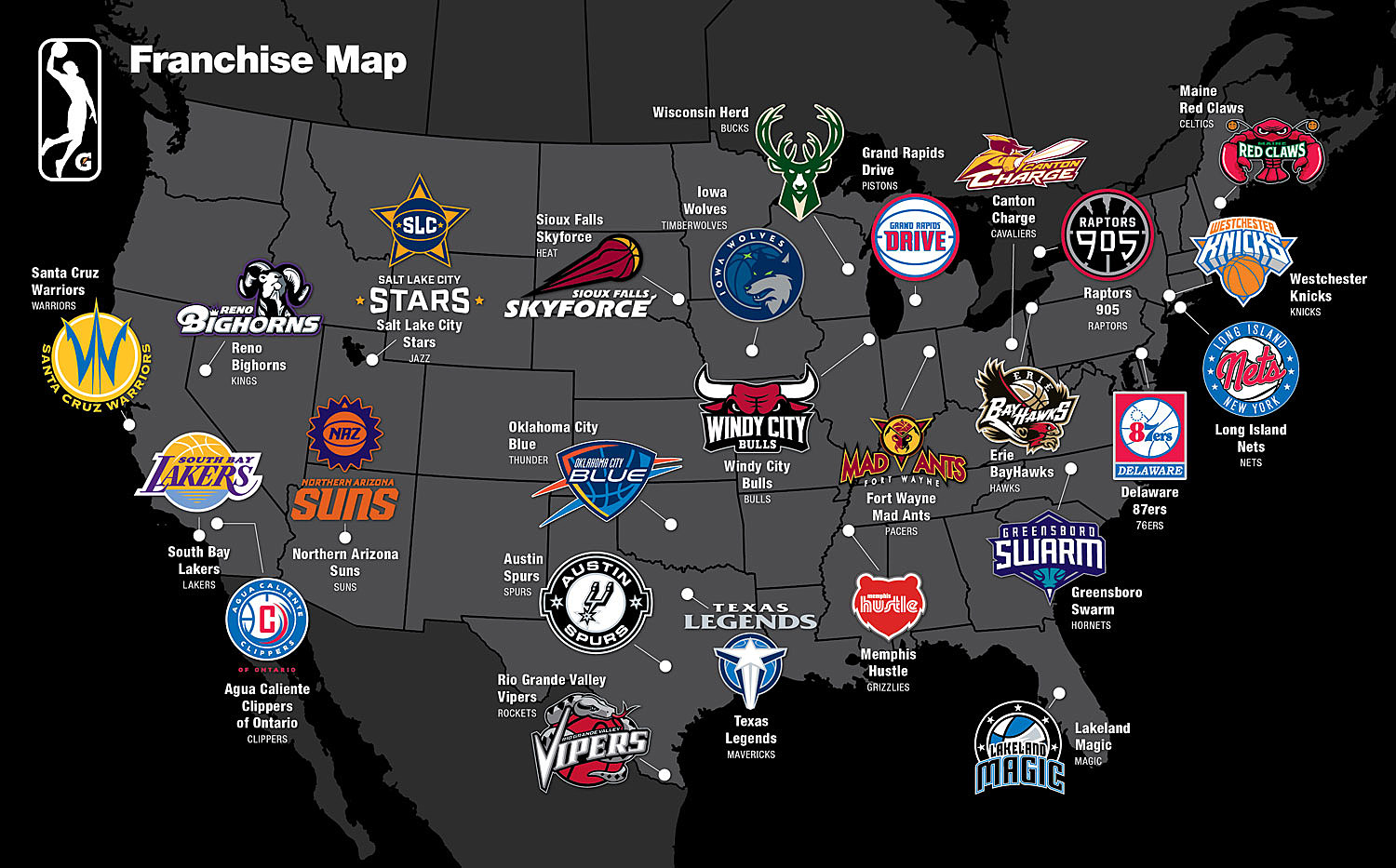 NBA G League Franchise Map